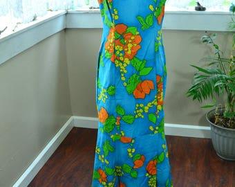 Vintage Hawaiian Dress by Hawaiian Tops Hawaiian Blue, Yellow, Green and Orange Dress - L