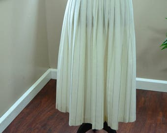 Vintage White Pleated Adolfo Skirt with Black Pinstripes - S