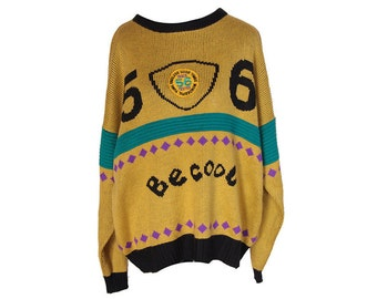 Vintage 80's BE COOL 56 Sweater Conversational Print Size Large
