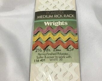 Rick Rack Trim, White Rick Rack, vintage trim sewing supplies