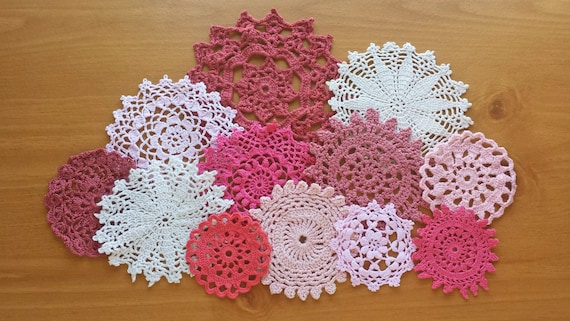 12 Craft Doilies, Vintage Hand Dyed Doilies in Red, Pink, Beige, Burgundy Wine Colors, Small Crocheted Doilies for Crafts and Decorating