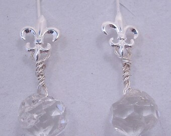 Vintage Glass Button and Fleur-de-lis Earrings