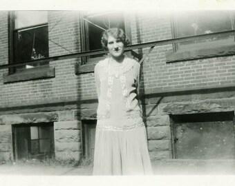 "Vintage Photo ""Holding a Secret Behind Her Back"" Snapshot Antique Photo Old Black & White Photograph Found Paper Ephemera Vernacular - 138"