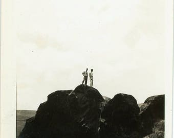 """Snapshot Photo """"Conquering the Top of the World"""" Men Man Stand Top Rock Mountain Hiker Camping Interior Design Black & White Photograph - 16"""