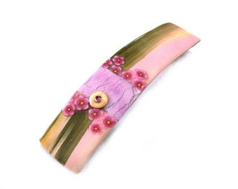 Pastel Hair Barrette, artisan made French clip with light pink olive green bronze yellow, Janapese Cherry blossom, Made in France hair pin