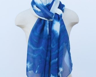 blue chiffon ink blot scarf, oversized wrap