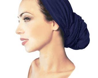 Navy Royal Blue Headscarf Clay Tan Brown Tichel Hair Snood Chemo Hat Cap Turban Long Ties Versatile Like Hair Boho Chic ShariRose Head Wrap