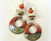 Earthy Elegant Enamel Charm Earrings - Rustic Sienna, Taupe, Beige and Silver - Sterling Silver Ear Wires - Artisan Boho Hoop Charm Earrings
