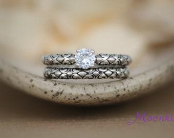 White Sapphire Sculptural Engagement Ring Set in Sterling - Silver Swirl Sculptural Wedding Set - Diamond Alternative Engagement Ring