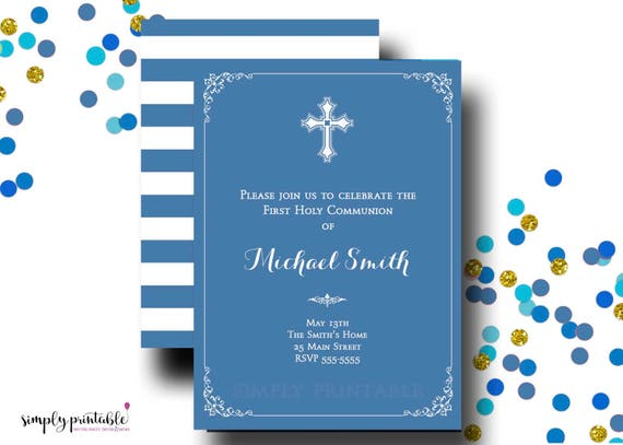 Communion Invitation Boys, 1st Communion Invite, Baptism, Christening, Religious, Blue