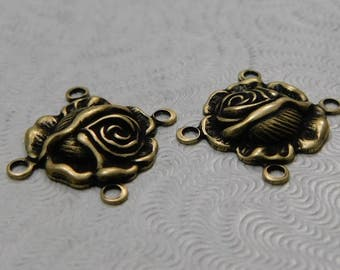 LuxeOrnaments Small Oxidized Brass Filigree Rose 4-ring Connector (Qty 2)  AT-6636-4-B