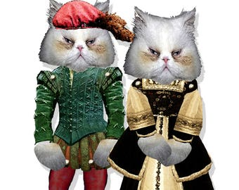 Printable Paper dolls Shakespeare Cats watercolor original design cat puppets craft project for any decor