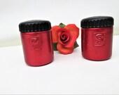 Vintage Aluminum Salt Pepper Shakers, Red Aluminum Shakers, Salt and Pepper Set