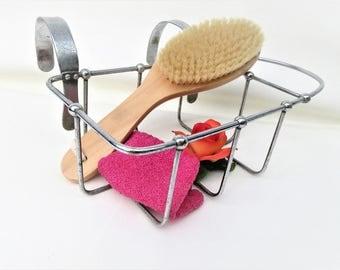 Vintage Tub Mount Caddy | Bath Tub Basket | Wire Basket | Sponge Holder