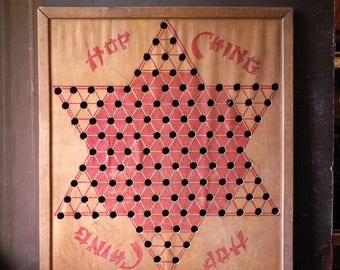 Vintage Hop Ching Chinese Checkers Game Board - Great Man Cave Decor