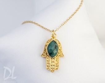 Gold Hamsa Hand Necklace, Custom Birthstone Necklace, Raw Emerald Necklace, May Birthstone Necklace, Good Luck Hand Necklace
