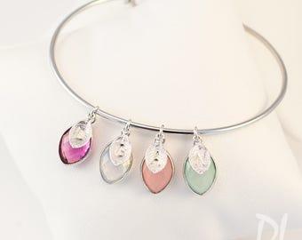 Mothers Day Gift for Grandma - Nana Birthstone Charm Bangle - Mothers Bracelet - Custom Bracelet - Family Tree Jewelry - Gift Jewelry