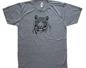 Tiger Big Cat Mens Shirt - Triblend Tri Blend Mens Tshirt Tiger Shirt - Safari Animal - Short Sleeved Tshirt - Size S, M, L, XL
