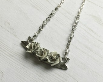 Three Roses Banner Necklace // Literary Origami