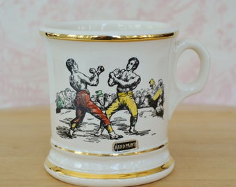Vintage Mug with Painted Boxing Illustration with Gold Accents