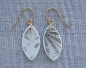 Faded Luster Earrings Broken Recycled China Jewelry Material and Movement