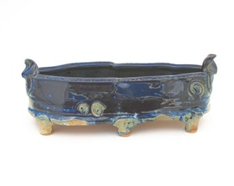 Wheel Thrown Midnight Blue and Gold Ceramic Dish #03, Handmade Candy Dish, Ceramic Serving Dish, Appetizer Serving Tray