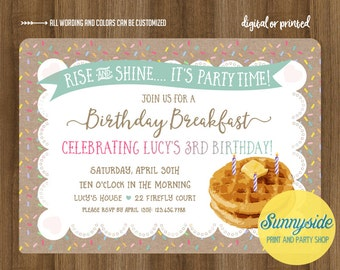 Birthday Breakfast Invitation with Waffles, burlap and sprinkles // rise and shine // printable or printed invitations // boy girl