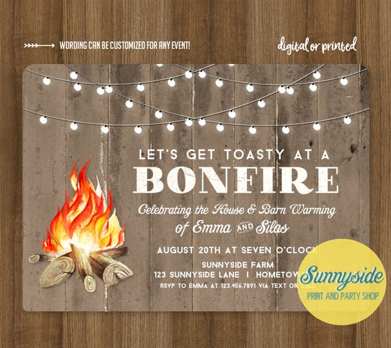 bonfire invitation for housewarming barn warming birthday