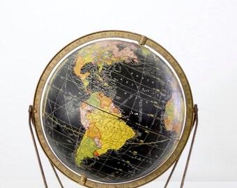 mid-century globe, black 12 inch desk globe circa 1960, Cram's globe