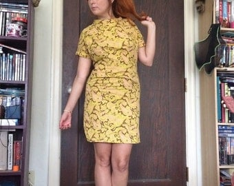Vintage 1960s 1970s paisley dress xs small