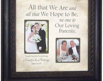 Personalized Wedding Gift for Parents, Bride Groom Grandparents Mom Dad Father Mother Gift, Photo Mat Frame, Parents Thank You Gift, 16x16