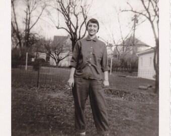 Call Me Dorty- 1950s Vintage Photograph- Woman Smoking Cigarette- 50s Fashion- Found Photo- Vernacular- Paper Ephemera