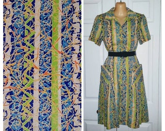 Bridge club ..... Vintage 60s day dress / zip front shift / mid century housewife mad men / summer batik novelty ... S M