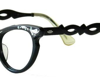 Vintage 1950s Black Cat Eye Eyeglass Frames Size Small