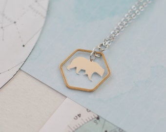 Bear Necklace, Geometric Bear Pendant, Bear Charm Necklace, Bear Jewellery, Polar Bear Necklace, Bear Gift,  Mama Bear Gift