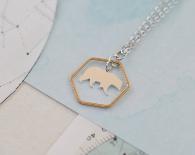 Featured listing image: Bear Necklace, Geometric Bear Pendant, Bear Charm Necklace, Bear Jewellery, Polar Bear Necklace, Bear Gift,  Mama Bear Gift