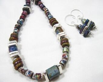 Greek Mykonos Denim Colorful Necklace & Earrings Set