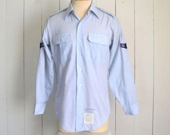 US Air Force Shirt - Vintage Long Sleeve Button Up - Baby Blue Uniform - First Class Airman Patches - Mens Large L