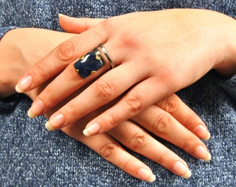Blue Sapphire Ring, Spiral Blue Natural GemStone Sapphire Ring, Natural Gem Stone Boho Cocktail Ring, Silver Statement Ring, FREE SHIPPING