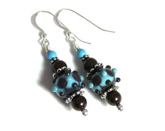 Brown & Turquoise Lampwork Earrings, Swarovski Pearl Earrings, Lampwork Jewelry, Turquoise Earrings, Brown Earrings, Brown Pearl Earrings