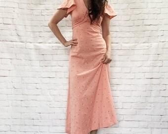 Vintage 60s Wrap Belt Angel Sleeve Flocked Velvet Floral Maxi Dress XS S Peach Orange Daisies