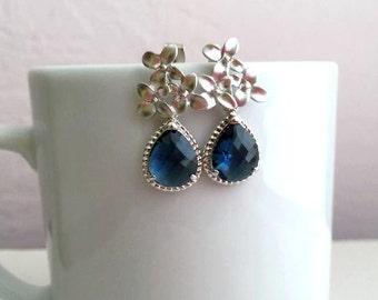 Silver Sapphire Blue Earrings. Silver Blue Earrings. Montana Blue.Bridesmaid Earrings. Bridesmaid Jewelry.Wedding Earrings. Bridesmaid Gift.
