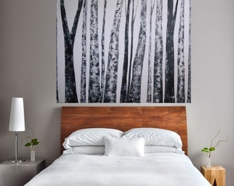 MADE TO ORDER: Large Room Art Wintery Misty Foggy Bare Aspens by MyImaginationIsYours