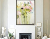 Art Painting green, rosa,  Wall Art  wunderful Wall Decor nice Acrylic Painting Gift Ideas Abstract Painting