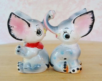 Vintage Elephant Salt and Pepper Shakers with Entwined Trunks