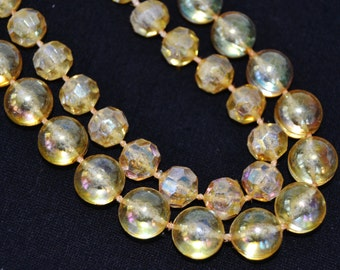 Vintage Double Stranded Necklace with Yellow Iridescent Plastic Beads in Two Shapes