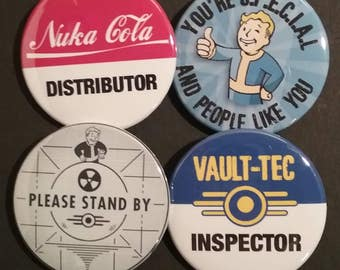 Fallout Inspired Buttons OR Magnets, Set of 4
