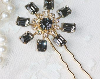 Gorgeous Vintage Black Diamond Crystal Hair Fork,Crystal Gold Hair Pin,Bridal,Grey Gray,Weddings,Rhinestone Hair Fork,Harlequin Opal,Bride