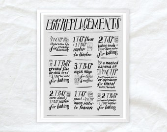 egg replacement poster for vegans/egg allergies - 11x14 kitchen poster for cooking help