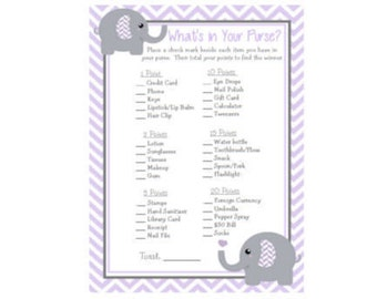 Baby Shower Game Purple Lavender & Grey (Gray) Chevron Elephant What's In Your Purse Game Instant Download